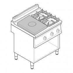 Tecnoinox - Plaque de cuisson - Top 2 feux vifs gaz + 1/2 plaque coup de feu sur placard ouvert - Gamme 700 - PCPG8FG7