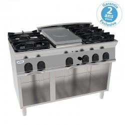 Tecnoinox - Plaque de cuisson - Top 4 feux vifs gaz + 1/2 plaque coup de feu sur placard ouvert - Gamme 700 - PCPG12FG7