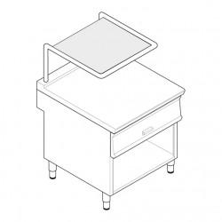 Tecnoinox - Plan de travail sur placard ouvert - Double avec tiroir et support salamandre - Gamme 900 - PNCS8FL9