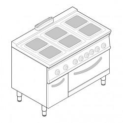 Tecnoinox - Fourneau dessus électrique sur four électrique - 6 plaques carrées + placard - Gamme 700 - Modules 400