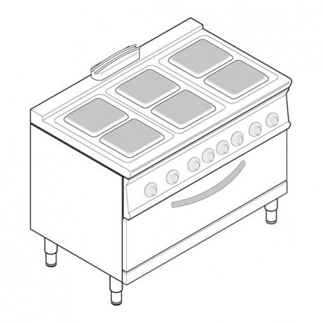 Tecnoinox - Fourneau dessus électrique sur four électrique extra large - 6 plaques carrées - Gamme 700 - Modules 400