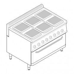 Tecnoinox - Fourneau dessus électrique sur four électrique extra large - 6 plaques carrées - Gamme 700 - Modules 350