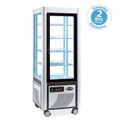 Furnotel - Vitrine réfrigérée positive - 4 faces vitrées - 400 litres - Fixe / Grilles chromées - 1 porte - 400FLED
