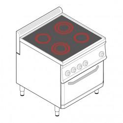 Tecnoinox - Fourneau dessus électrique sur four ventilé électrique GN1/1 - 4 plaques vitrocéramiques - Gamme 700 - PFC70V7