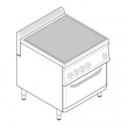 Tecnoinox - Fourneau plaque de mijotage sur four ventilé électrique GN1/1 - Gamme 700 - PPF70V7