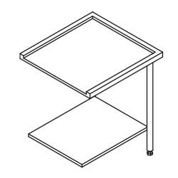 Table entrée/sortie pour machines à paniers 600 x 500 - Configuration en angle - 70206