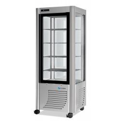 Furnotel - Vitrine réfrigérée négative - 4 faces vitrées - 400 litres - Fixe / Grilles évaporatrices - 1 porte - 400BTLED