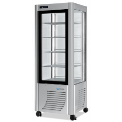 Furnotel - Vitrine réfrigérée positive - 4 faces vitrées - 400 litres - Fixe / Grilles chromées - 1 porte - PRA40FLED