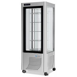 Furnotel - Vitrine réfrigérée positive - 4 faces vitrées - 400 litres - Tournante /plateaux verres - 1 porte - PRA40GLED