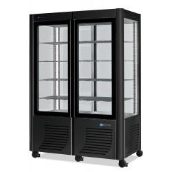 Furnotel - Vitrine réfrigérée négative - 4 faces vitrées - 800 litres - Fixe / Grilles évaporatrices - 2 portes - 800BTLED