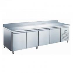 Furnotel - Table réfrigérée inox positive avec évaporateur ventilé - 4 portes - 553 litres - Avec dosseret - GN4201X