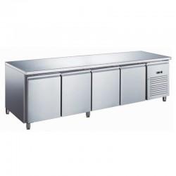 Furnotel - Table réfrigérée inox négative avec évaporateur ventilé - 4 portes - 553 litres - Sans dosseret - GN4101BTX