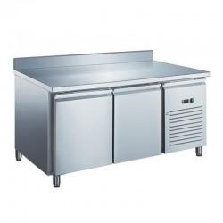 Furnotel - Table réfrigérée inox négative avec évaporateur ventilé - 2 portes - 282 litres - Avec dosseret - GN2201BTX