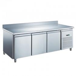 Furnotel - Table réfrigérée inox négative avec évaporateur ventilé - 3 portes - 417 litres - Avec dosseret - GN3201BTX
