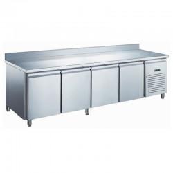Furnotel - Table réfrigérée inox négative avec évaporateur ventilé - 4 portes - 553 litres - Avec dosseret - GN4201BTX