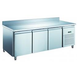 Furnotel - Table réfrigérée inox positive avec évaporateur ventilé - 3 portes - 580 litres - Avec dosseret - PA3201X