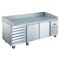 Furnotel - Table à pizza réfrigérée positive en inox - 2 portes + 7 tiroirs neutres - 390 litres - PZ2610X