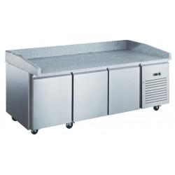 Furnotel - Table à pizza réfrigérée positive en inox avec évaporateur ventilé - 3 portes - 580 litres - PZ3601X