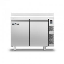 Coldline - Table réfrigérée positive MASTER avec plan de travail adossé - Sans groupe - 2 portes - 229 litres - TA131MQR