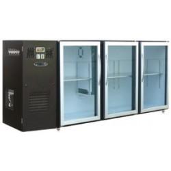 Unifrigor - Arrière-bar Skinplate - Série LEDS - Groupe logé - 3 petites portes vitrées - 390 litres - U53PVS