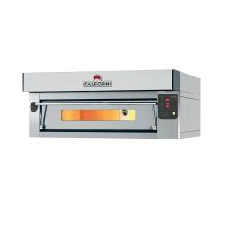 Italforni - Four à pizza inox - Gamme EURO - 1 chambre - 9 pizzas - Commandes digitales - EC9DI