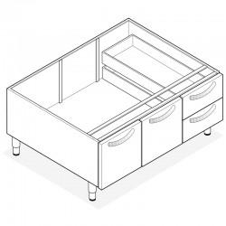 Tecnoinox - Support avec placard 2 portes / 2 tiroirs - Gamme 600 - VNC1050
