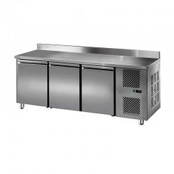 Furnotel - Table réfrigérée inox positive avec dosseret - 3 portes - 310 litres - GN3201T
