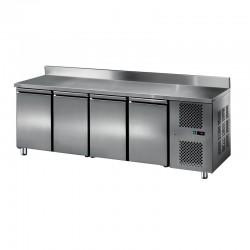 Furnotel - Table réfrigérée inox positive avec dosseret - 4 portes - 413 litres - GN4201T