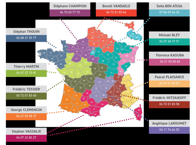 Carte de France - Régions et Commerciaux